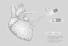 Human Heart Medicine Treatment Drug Internal Organ Triangle Low Poly. Connected dots white gray neutral color technology 3d model vector illustration
