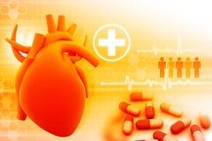 Human heart and modem medicines. Digital illustration Royalty Free Stock Image