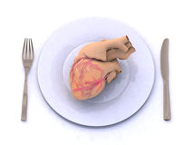 Human heart on a plate Royalty Free Stock Image