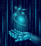 Human heart robot android hand low poly. Polygonal geometric particle design. Innovation medicine technology future. Humanoid doctor binary code background Stock Image