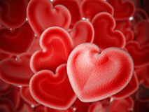 Human heart shaped blood cells background. 3D illustration Stock Photos