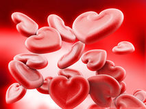 Human heart shaped blood cells background. 3D illustration.  Royalty Free Stock Image