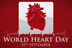 Human Heart Silhouette in Sign to Celebrate World Heart Day, Vector Illustration Royalty Free Stock Images