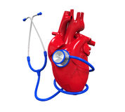 Human Heart and Stethoscope Stock Image