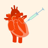The human heart with a syringe Royalty Free Stock Photography
