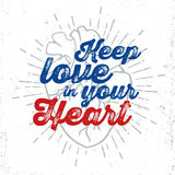 Human heart vector illustration with inspirational lettering. Royalty Free Stock Photos