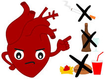 Human heart versus bad habits cartoon illustration Royalty Free Stock Photo