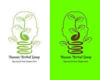 Human Herbal Lamp Vector logo design stock illustration