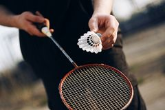 A human holding a racket and is going to throw a shuttlecock royalty free stock image