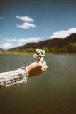Human Holding White Flower Near Ocean Water during Daytime Royalty Free Stock Photography