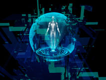 Human hologram against abstract background Stock Photography