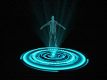 Human hologram presented on futuristic projector Stock Images