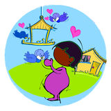 Birds and African Child Baby Cartoon Royalty Free Stock Images