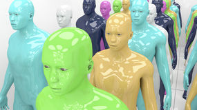 Human humanoid clones of different colors Royalty Free Stock Photo