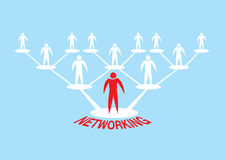 Human Icon Networking Hierarchy Vector Illustration. Hierarchical web network of human icon for networking concept. Vector Illustration  on blue background Stock Photography