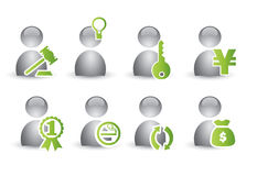 Human icon set. Silver and green human icon set for web concept Royalty Free Stock Photography