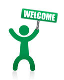 Human icon with welcome sign Royalty Free Stock Image