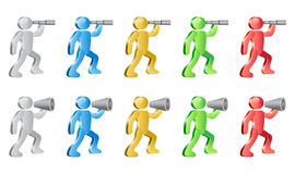 Human Icons. People searching with spyglass  and shouting in megaphone. Group of people in different colors Stock Photos