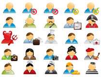 Human icons set 1. 25 icons depicting different social roles and stereotypes Royalty Free Stock Images