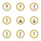 Human icons set, cartoon style Stock Image