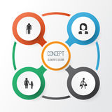 Human Icons Set. Collection Of Grandpa, Delivery Person, Businesswoman Elements.  Stock Photo