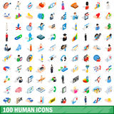 100 human icons set, isometric 3d style. 100 human icons set in isometric 3d style for any design vector illustration Royalty Free Stock Photography