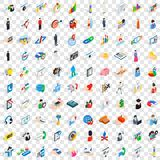100 human icons set, isometric 3d style Royalty Free Stock Photo