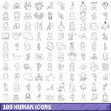 100 human icons set, outline style. 100 human icons set in outline style for any design vector illustration Stock Photography