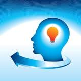 Human idea with bulb and arrow Stock Photography