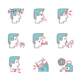 Human illness and diseases symptoms signs set. Ill man avatars. Thin line art icons. Flat style illustrations isolated on white Stock Images