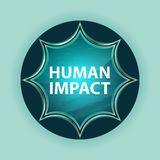 Human Impact magical glassy sunburst blue button sky blue background stock illustration