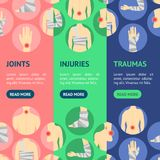 Human Injuries Set Bandage and Center Pain Banner Vecrtical Set. Vector. Human Injuries of Body, Hand and Foot Set Bandage, Center Pain Banner Vecrtical Set Stock Photos