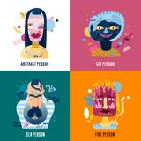 Human Inner World Concept. 4 icons square with fire cat sea persons types abstract isolated vector illustration Royalty Free Stock Images