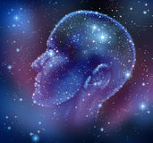 Human Inspiration. And creative intelligence with a constellation of bright stars in space in the shape of a human head illuminated on a night sky as a brain Stock Photography