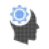 Human Intellect Gear Halftone Dotted Icon. Halftone array contains round points. Vector illustration of human intellect gear icon on a white background royalty free illustration