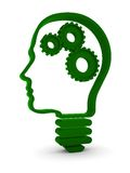 Human Intelligence. Human head / light bulb with mechanical parts inside. Part of a series Stock Images