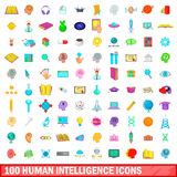 100 human intelligence icons set, cartoon style Royalty Free Stock Photo