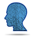 Human intelligence research symbol. Finding a cure for a brain disease symbol with a maze and labyrinth in the shape of a human head as a concept of research Stock Photography