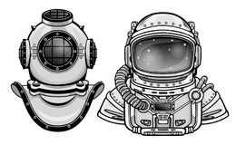 Human inventions: ancient diving helmet, astronaut`s suit. Past and future. Depth science. Royalty Free Stock Photography