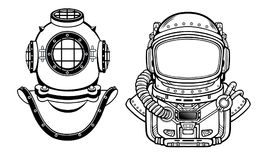 Human inventions: ancient diving helmet, astronaut`s suit. Past and future. Depth science. Stock Photography