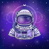 Human inventions: astronaut`s suit. Depth science. Background - the night star sky. Vector illustration. Print, poster, t-shirt, card Royalty Free Stock Images