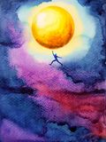 Human jump high up to catch bright yellow ful moon in dark sky. Night, dream illustration watercolor painting design Stock Image