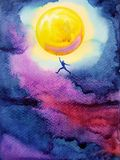 Human jump high up to catch bright yellow full moon in dark sky. Night, dream illustration watercolor painting design Royalty Free Stock Image
