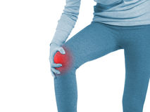 Human knee pain joint problem medical health care concept. Royalty Free Stock Photos
