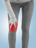 Human knee pain joint problem medical health care concept. Stock Photos
