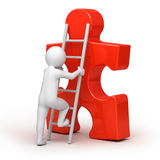 Human, ladder and red puzzle Stock Images