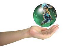Human lady hand holding world. Globe isolated over white background stock photography