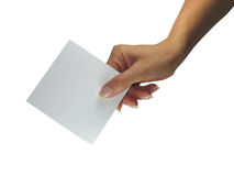 Human lady hand showing empty paper Royalty Free Stock Photo