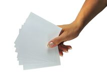 Human lady hand showing empty paper Stock Images