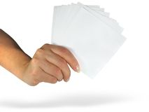 Human lady hand showing empty paper Royalty Free Stock Photos